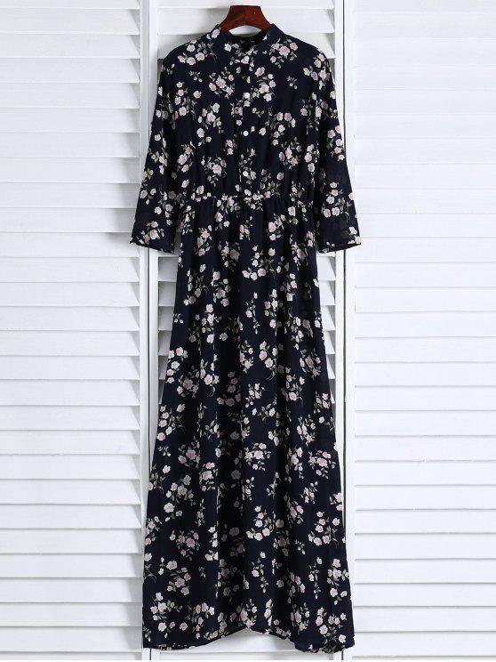 Robe florale à col montant avec manches aux 3/4 - Noir XL