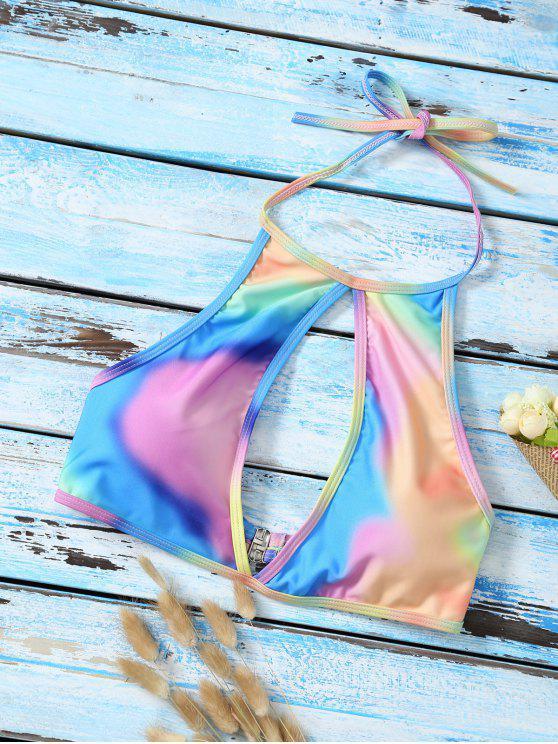 Halter escotado del tinte del lazo superior del bikini - Multicolor M