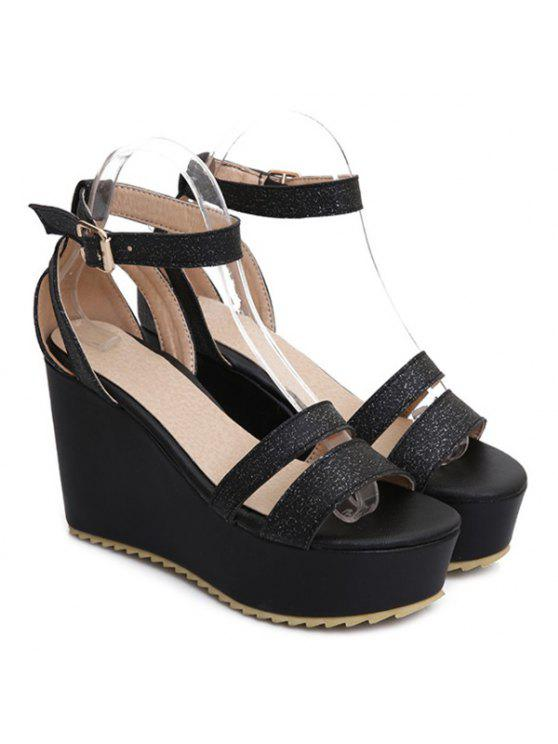 buy Faux Leather Ankle Strap Sandals - BLACK 37
