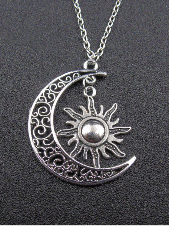 collier lune soleil argent