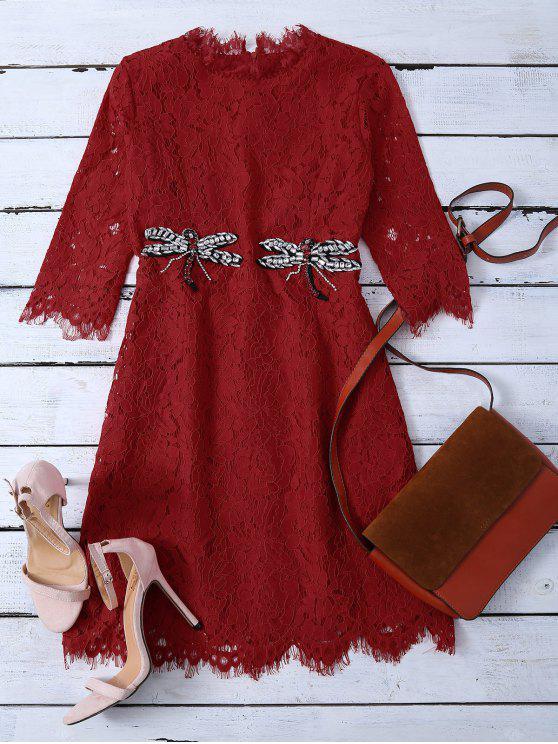 women Rhinestoned Scalloped Lace Dress - RED XL