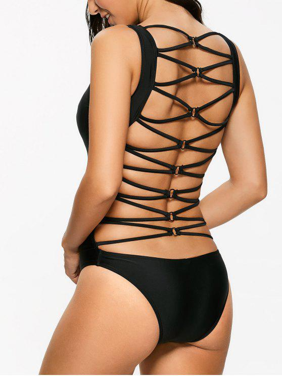 9dc7bfd251150 30% OFF  2019 Strappy Cut Out Sexy One Piece Bathing Suit In BLACK ...