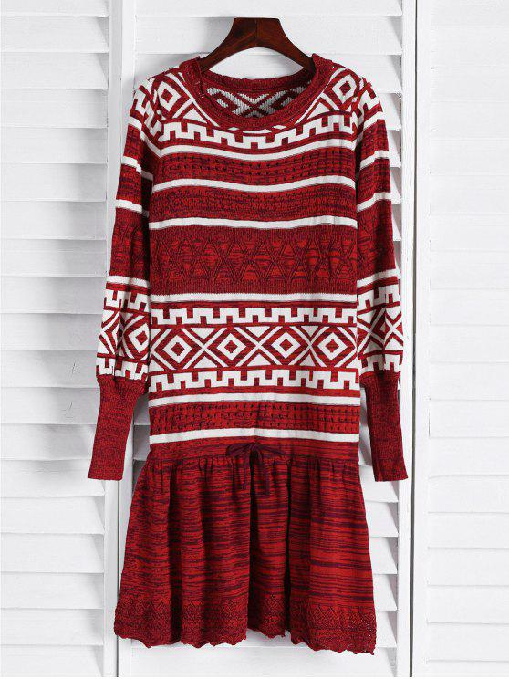 buy Geometric Pattern Long Sleeve Sweater Dress - CLARET ONE SIZE(FIT SIZE XS TO M)