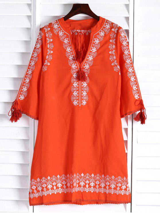 affordable Floral Embroidery Plunging Neck 3/4 Sleeve Dress - ORANGE L