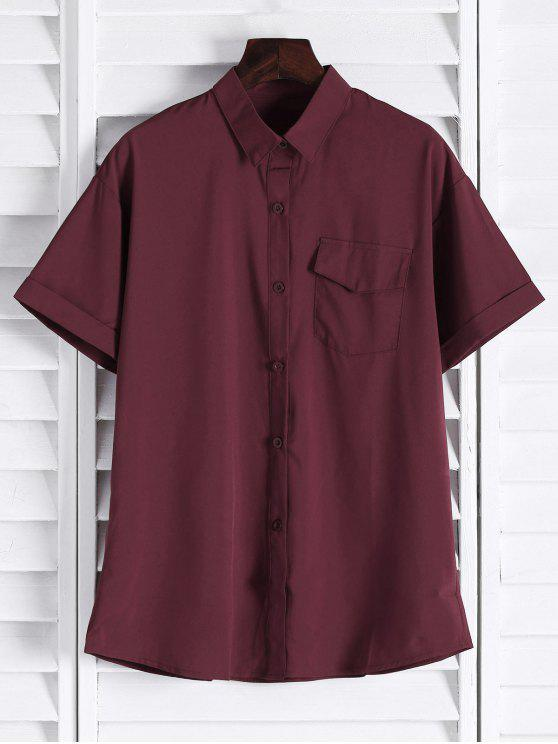 outfit Chest Pocket Short Sleeve Shirt - CLARET M