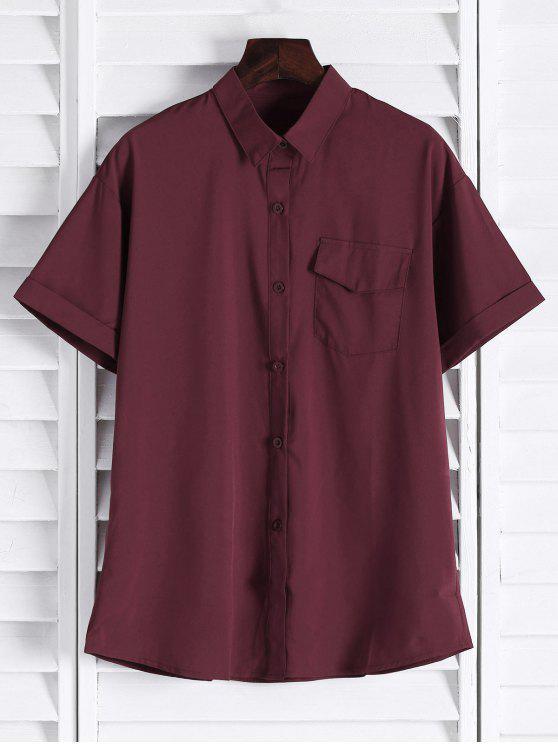 outfits Chest Pocket Short Sleeve Shirt - CLARET L