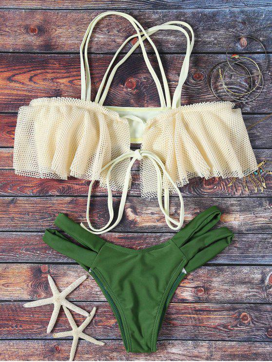 Biquini com rendas bege e detalhe de tiras verde Tam - Verde S