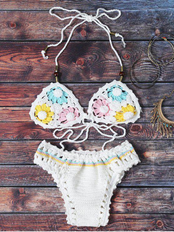 fancy Flower Pattern Halter Crochet Bikini Set - WHITE ONE SIZE(FIT SIZE XS TO M)