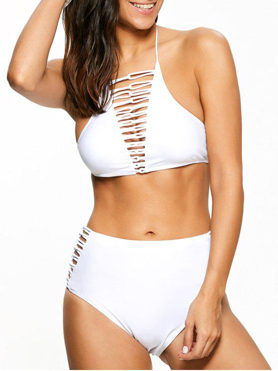 hot High Waisted Lace-Up Swimsuit - WHITE S