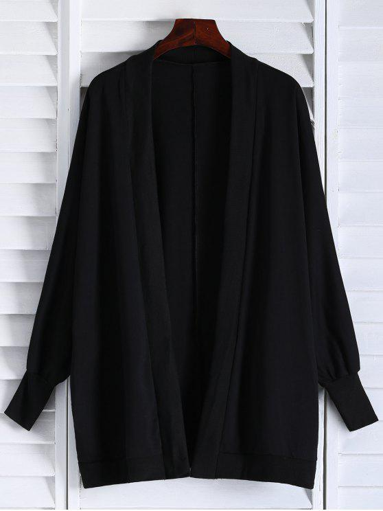 unique Oversized Batwing Sleeve Coat - BLACK ONE SIZE