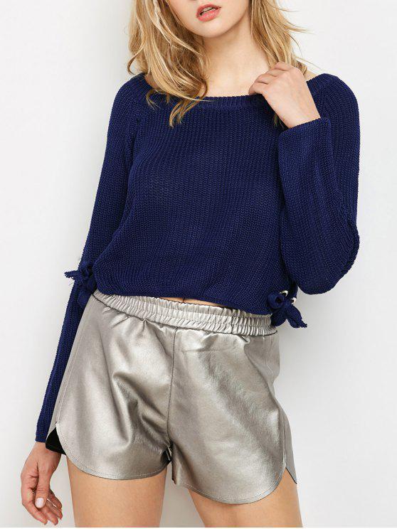 shops Grommet Lace Up Raglan Sleeve Jumper - PURPLISH BLUE ONE SIZE