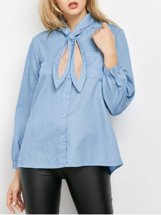ladies Pockets Loose Striped Shirt - BLUE M