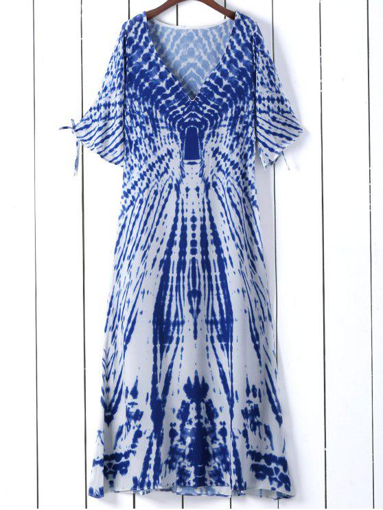 trendy Tie Dye Plunge Neck Split Sleeve Dress - BLUE S