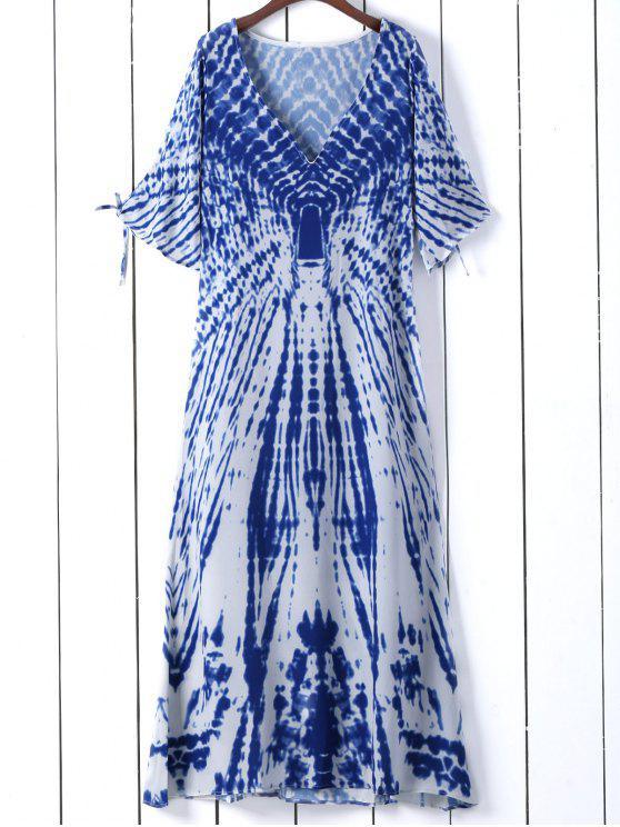 Tie Dye Kleid mit tiefem Ausschnitt und Schlitz an den Ärmel - Blau S