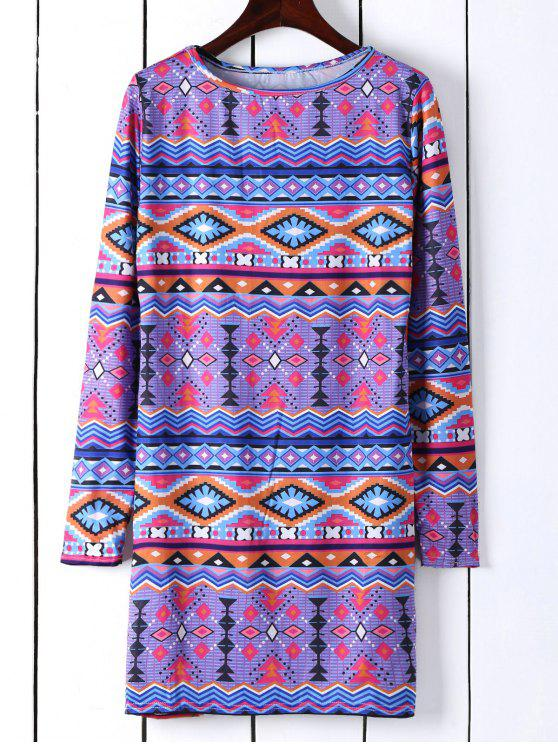 affordable Long Sleeve Printed Shift Tunic Dress - BLUE S