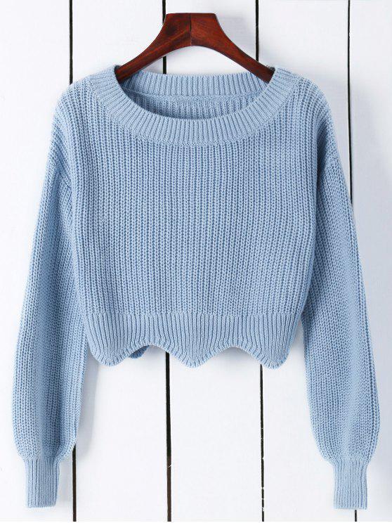 latest Scalloped Cropped Boat Neck Sweater - AZURE S