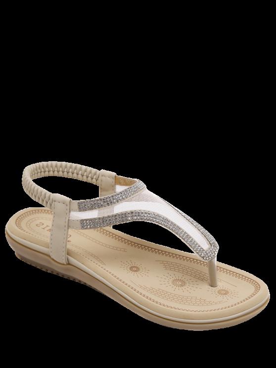 Sandalias de malla elástica Banda diamantes de imitación - Albaricoque 39