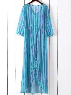 Vertical Stripe Maxi Shirt Dress - Blue Green Xl