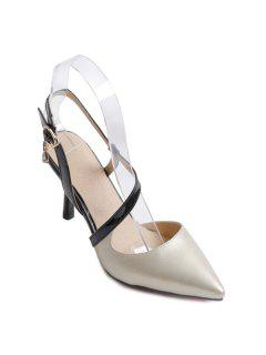 Slingback Pointed Toe Pumps - Off-white 37