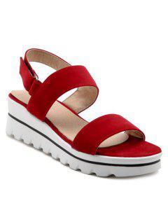 Platform Flock Sandals - Red 38