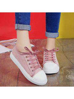 Lace Up Round Toe Canvas Sneakers - Pink 38