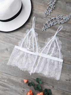 See-Through Embroidered Lace Bra - White S