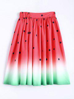 Ball Gown Watermelon Print Skirt - Watermelon Red S