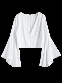Equipada Con Cremallera De La Llamarada De La Manga Camisa Corta - Blanco M