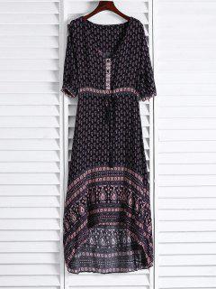 Ethnic Print V Neck 3/4 Sleeve Maxi Dress - Coffee L