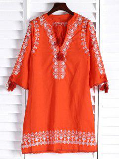 Floral Embroidery Plunging Neck 3/4 Sleeve Dress - Orange L