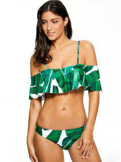 Ruffles Off The Shoulder Bikini - Green S