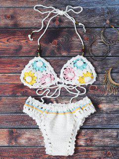 Blumenmuster Halter Crochet Bikini Set - Weiß