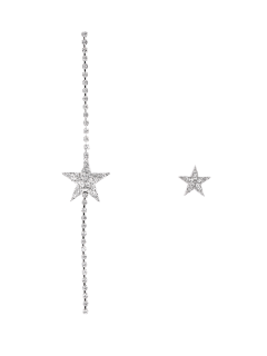 Rhinestone Ear Thread And Star Earring - Silver