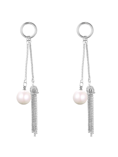 Faux Pearl Chain Tassel Drop Earrings - Silver