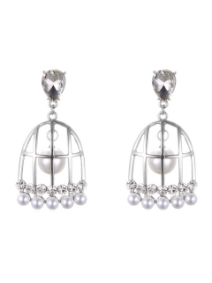 Faux Pearl Bird Cage Drop Earrings - Silver