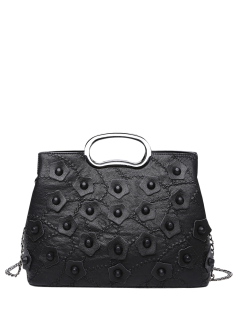 Stitching Rivet Handbag With Chains - Black