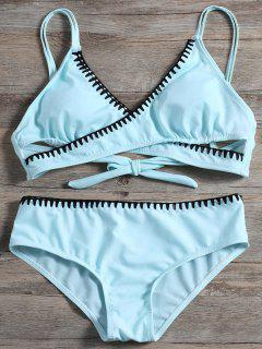 Bikini SetTravesaño Delantero Del  - Azul Claro M