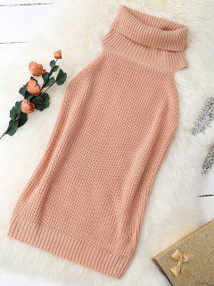 Turtle Neck Vest Chunky Sweater - Nude Pink