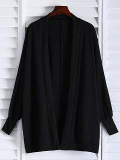 Oversized Batwing Sleeve Coat - Black