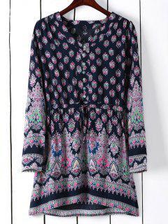 Printed Drawstring V-Neck Bohemian Beach Dress - L