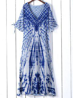 Tie Dye Plunge Neck Split Sleeve Dress - Blue S