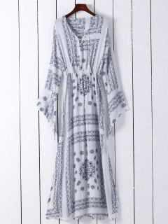 Ethnic Print V Neck Long Sleeve Maxi Dress - White S
