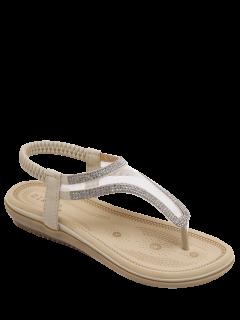 Sandales à Bande élastique En Filet à Strass - Abricot 39