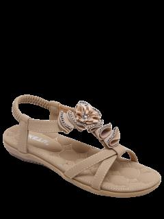Rhinestones Flowers Flat Heel Sandals - Apricot 40