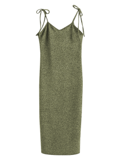Glitter Tie Shoulder Slip Dress - Light Gold M