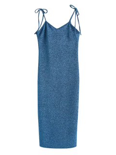 Glitter Tie Shoulder Slip Dress - Peacock Blue S