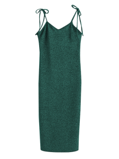 Glitter Tie Shoulder Slip Dress - Green S