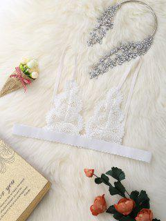 Unlined Lace See Through Cami Bra - White S