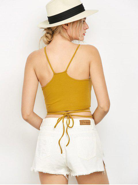 womens Spaghetti Straps Strappy Tank Top - YELLOW S Mobile