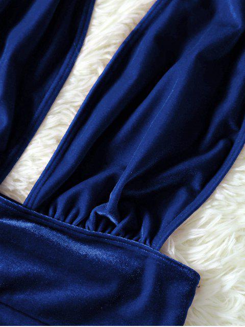Maillot 1 Pièce en Velours Dos Ouvert - Bleu M Mobile